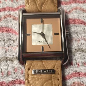 Nine West leather brown tan silver watch